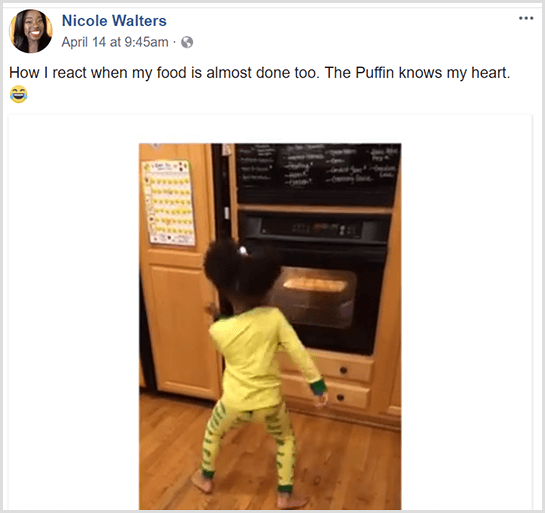 Nicole Walters posted a Facebook video of her young daughter dancing in front of the oven in her pajamas as she waits for her food to finish cooking.