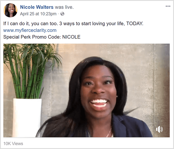 Nicole Walters shares a Facebook live video promoting her course Fierce Clarity. She appears in business clothes in front of a neutral wall and a tall bamboo plant in a white planter.