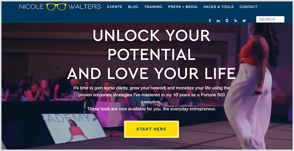 Nicole Walters' website has a video background in which Nicole wears white pants and red top while standing on a stage. Her logo is a pair of yellow glasses. The text Unlock Your Potential And Love Your Life appears on the home page in a large white font. A yellow button says Start Here.