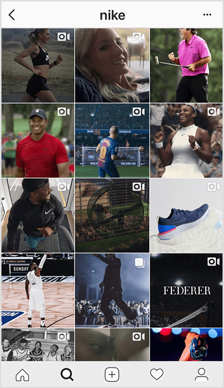 Nike Instagram posts feature a grid of athletes wearing Nike gear but few images in the feed have text.