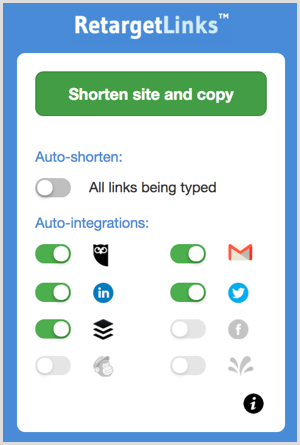 Shorten a link with the RetargetLinks Chrome extension.