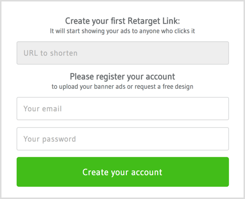 Set up an account with RetargetLinks.
