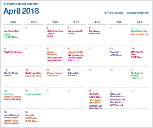 Twitter monthly lineup calendar