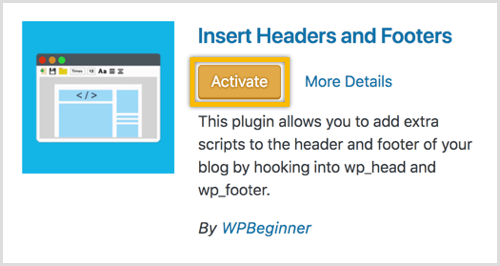 WordPress Insert Heads and Footers plugin