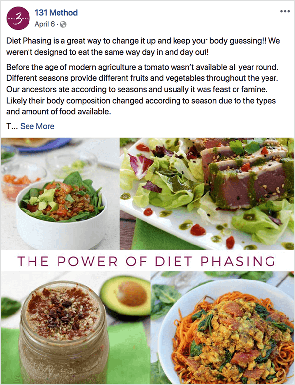 The 131 Method Facebook page posts about diet phasing.