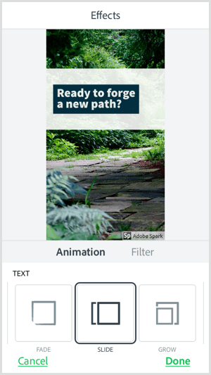 Select a text animation option with the Adobe Spark Post mobile app.