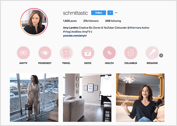 Amy Landino's Instagram profile uses the handle schmittastic. Her Instagram profile shows Highlight categories for AmyTV, Picmonkey, Travel, Dates, Health, Columbus, and Speaking. The photos show pictures of Amy.