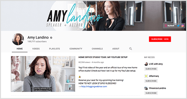 AmyTV is Amy Landino's rebranded YouTube channel. The channel page features photos of Amy and the video she used to launch her rebranded channel.