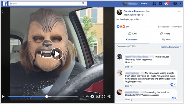 Candace Payne went live on Facebook in a Chewbacca mask from the Kohl's parking lot. At the time this screenshot was taken, her video had 3.4 million shares and 174 million views.
