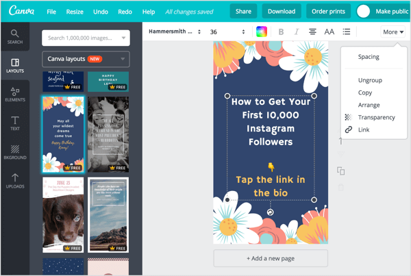 Select a layout in Canva and modify the design as desired.