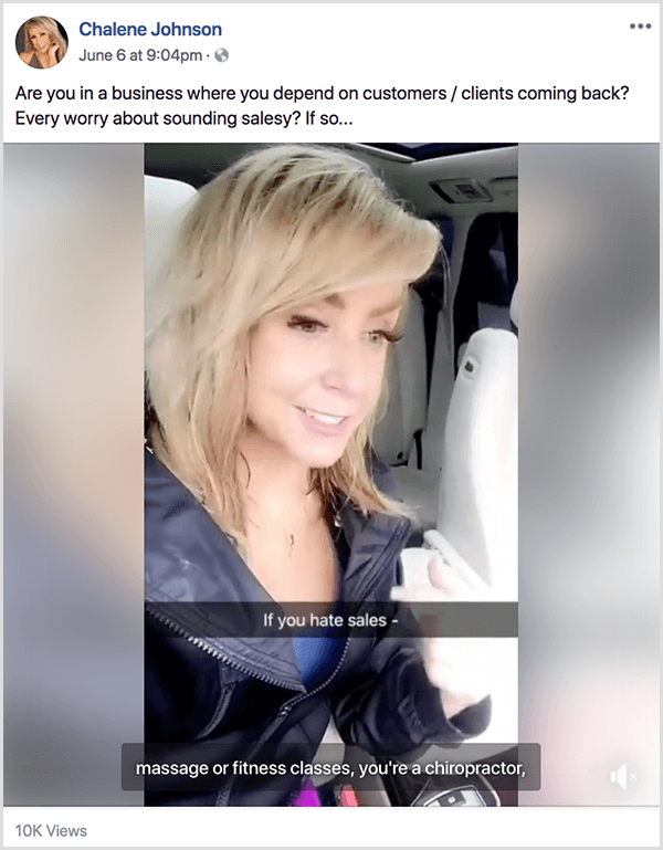 Chalene Johnson posts a video on her facebook profile with the question, Are you in a business where you depend on customers and clients coming back? Ever worry about sounding salesy? If so . . .