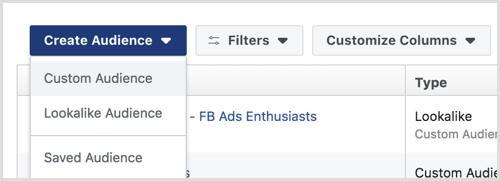 create Facebook custom audience for funnel