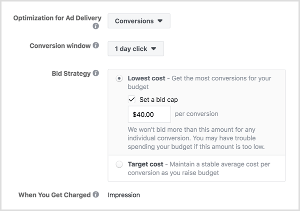 Set Facebook ad bid cap.