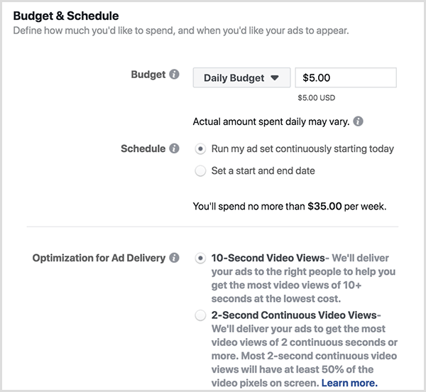Facebook ad budget and schedule options include a Daily Budget and 10-Second Views.