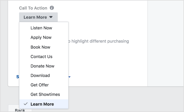 Facebook ad call to action button menu