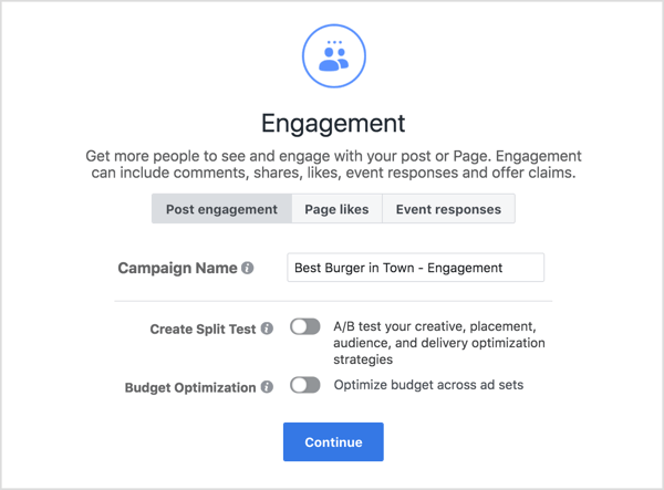 Enter a name for a Facebook engagement campaign.