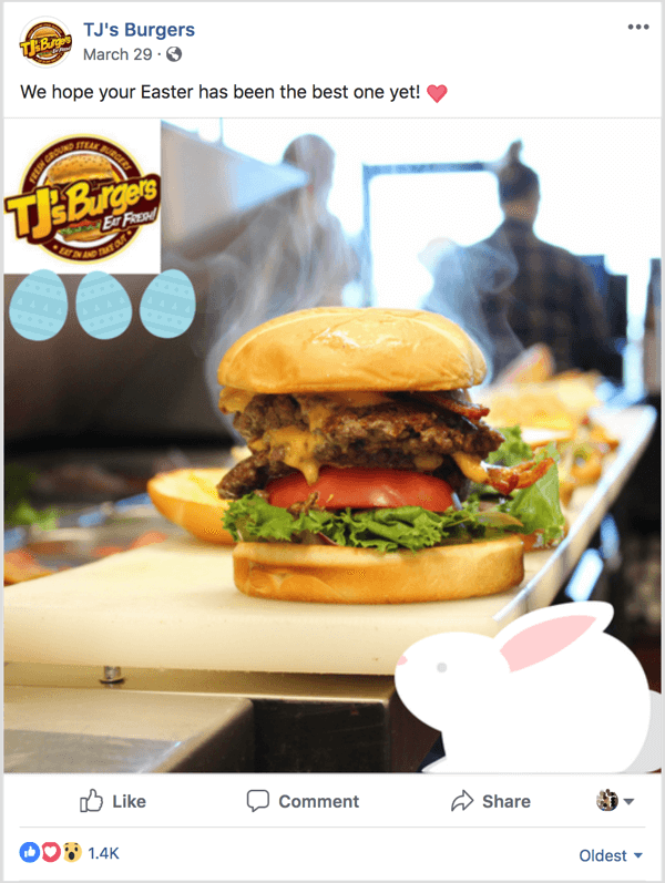 Facebook ad example TJs Burgers