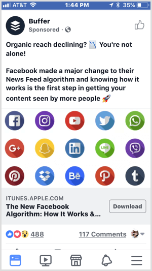 example of Facebook ad with download