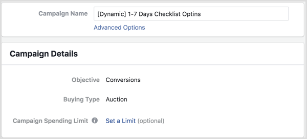 Facebook Ads Manager set up dynamic campaign