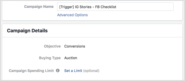 Facebook Ads Manager set up trigger campaign