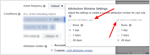 Attribution Window Settings options when setting up condition for Facebook rule