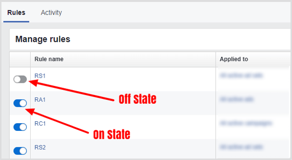 Slider to turn Facebook rule on or off