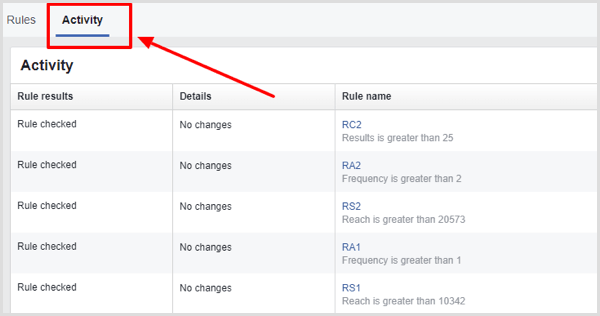 Activity tab on Facebook automated rules page