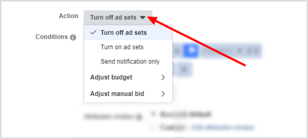 Action drop-down menu options when creating a Facebook rule.