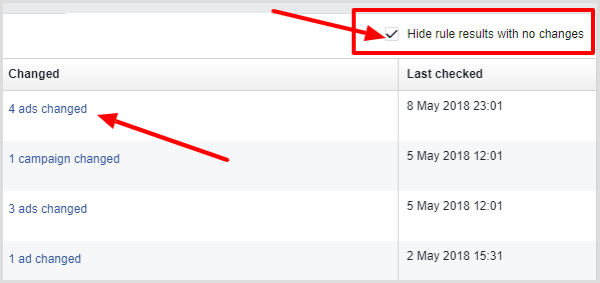 Hide rule results with no changes check box on Activity tab