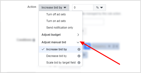 Adjust Manual Bid options in Action drop-down menu