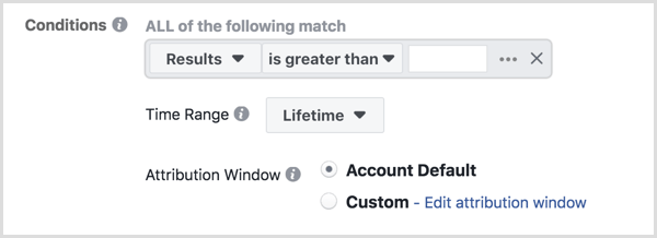 Set up Facebook automated rule conditions.