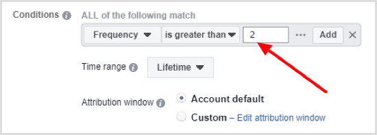 Enter value for the condition you selected when setting up Facebook automated rule