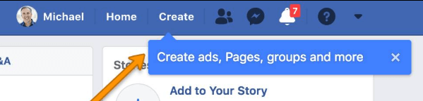 Facebook appears to have rolled out a new menu button on the top navigation bar that allows users to quickly and easily create a Page, an ad, a Group, and more.