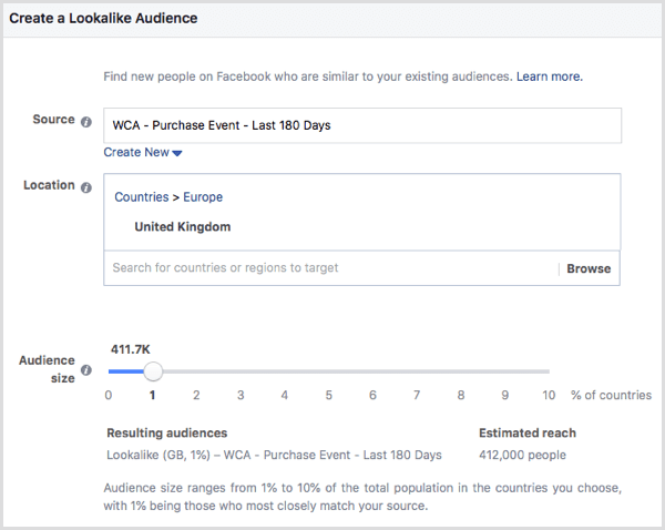 Facebook create event-based lookalike audience