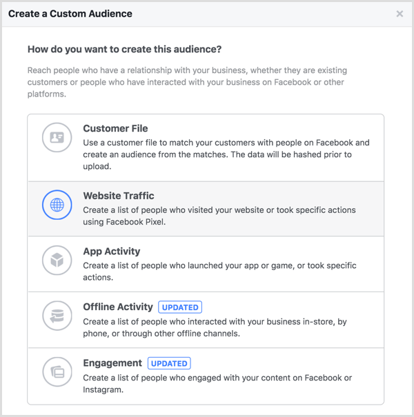 Website Traffic option in Create a Custom Audience dialog box