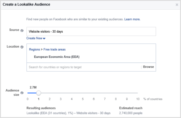 Choose options to set up a Facebook lookalike audience based on a custom audience of website visitors in the past 30 days