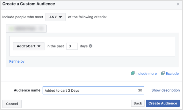 Choose options to create a Facebook custom audience based on AddToCart event