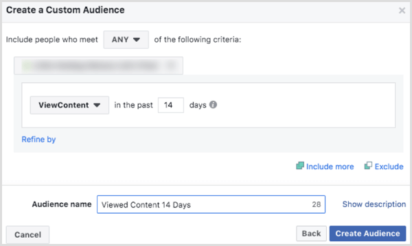 Choose options to create a Facebook custom audience website based on ViewContent eventthe