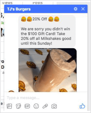 Facebook Messenger offer example