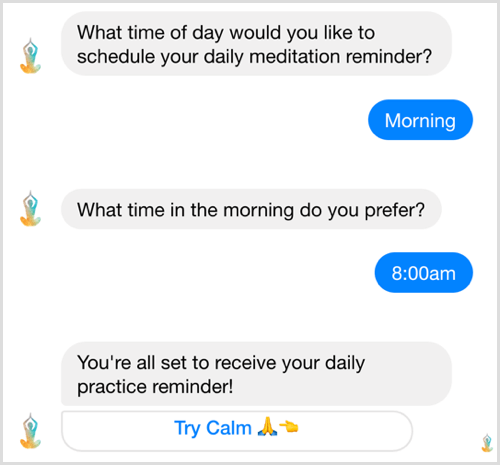 Facebook Messenger bot challenge example