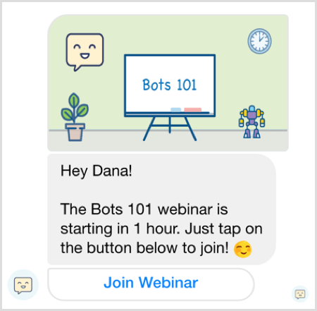 Facebook Messenger bot webinar reminder example