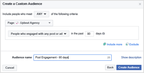 Choose options to set up a Facebook custom audience based on people who engaged with any post or ad in the past 90 days