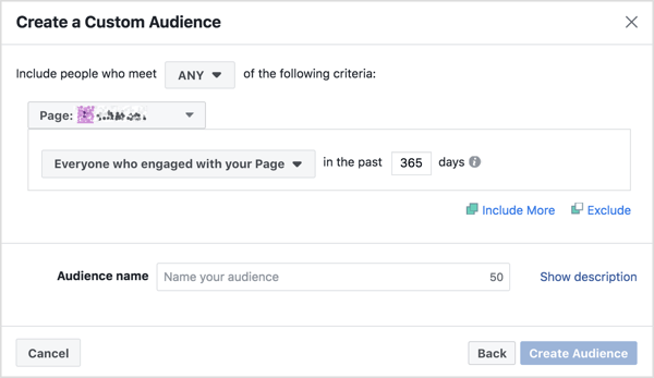 Fill in the criteria for a Facebook page engagement custom audience.