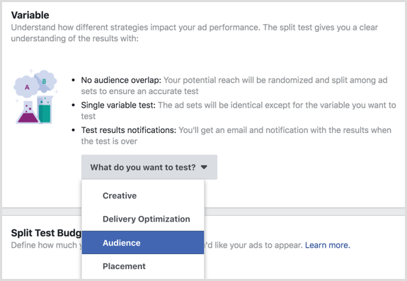 Facebook split test feature