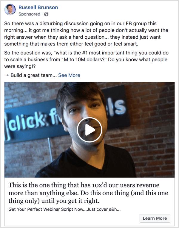 Facebook testimonial ad example