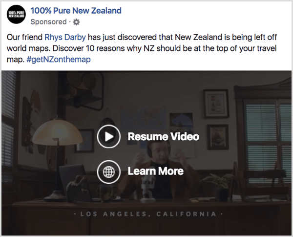 Facebook video ad awareness example