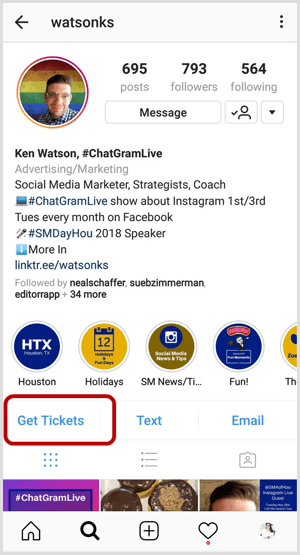 example of Instagram action button on business profile