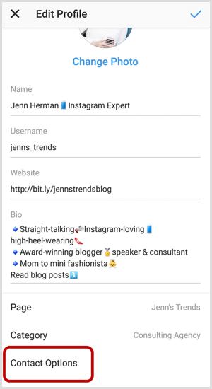 Contactopties op Instagram Profiel bewerken-scherm