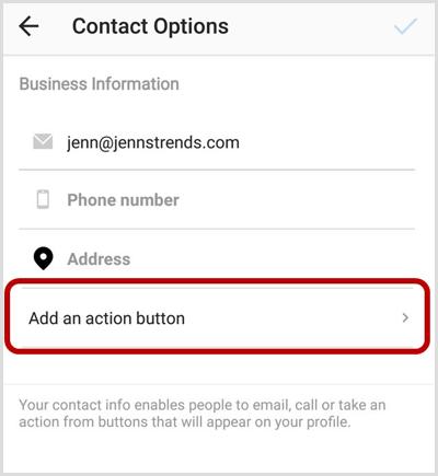 Voeg een actieknopoptie toe aan het Instagram-contactopties-scherm