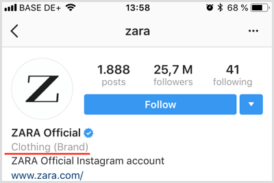 example of Instagram business account profile showing category